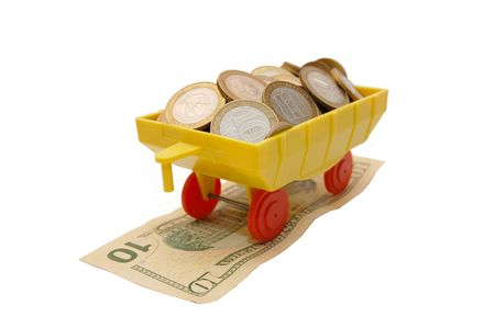 Toy train carrying coins on a white background Stock Photo - 5097046