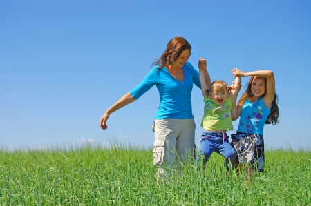 hang body: family on herb under blue sky