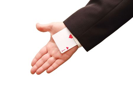held: ace card held by business man Stock Photo