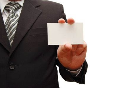 businessman holding blank card Stock Photo - 5191714