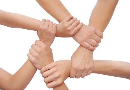 United Hände isoliert auf weißem Hintergrund Lizenzfreie Bilder - 5191728
