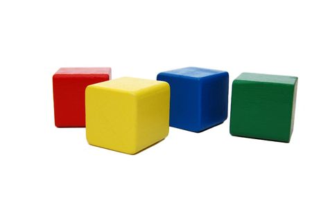 wooden colourful childrens blocks isolated white Stock Photo - 5220094