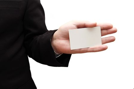 Business man handing a blank business card photo