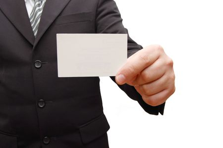 one to one meeting: Business man handing a blank business card Stock Photo