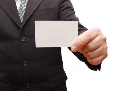 handing: Business man handing a blank business card Stock Photo