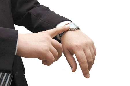 his: Businessman look his watch with handbag isolated on white Stock Photo