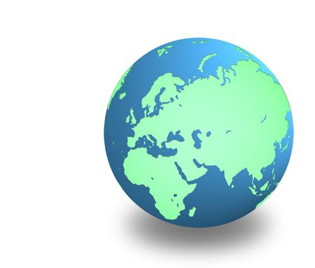 earth with shadow on white background     photo