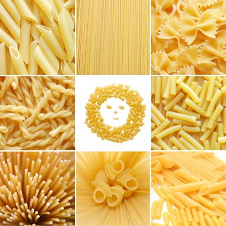 different kinds of italian pasta. Food collage photo
