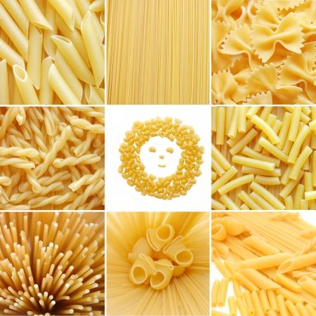 verschiedene Arten der italienischen Pasta. Essen Collage