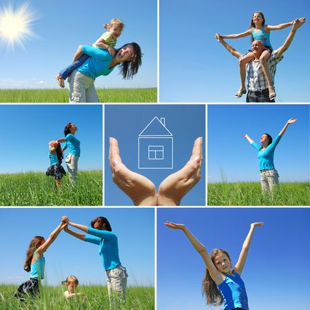 familia feliz al aire libre en verano - collage Foto de archivo