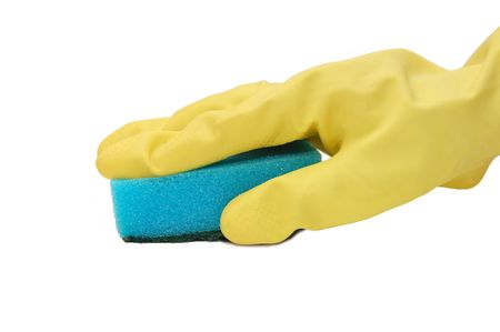 Hand in yellow glove with sponge Stock Photo - 5330490