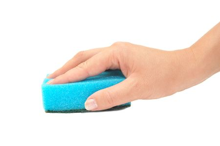 Hand and kitchen sponge isolated on white Stock Photo - 5330484