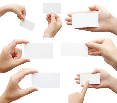 business card design: Set of hand holding an empty business card over white Stock Photo