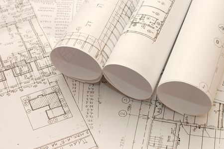 engineering plans: Rolls of Engineering Drawings Stock Photo
