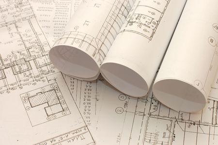 Rolls of Engineering Drawings Stock Photo - 5521343