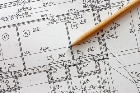 Tools for design on the blueprint photo