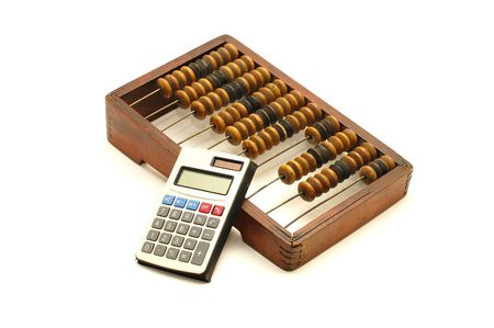 economic revival: Abacus and calculator on white background