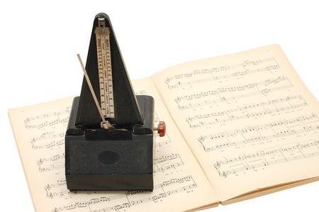 minuet: metronome on sheet music background