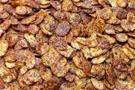 cornflakes background, closeup photo