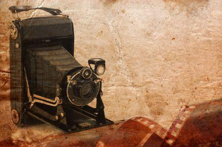 folding camera: medium format retro camera vintage background