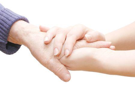 mano touch: vecchie e giovani mani isolate on white   Archivio Fotografico