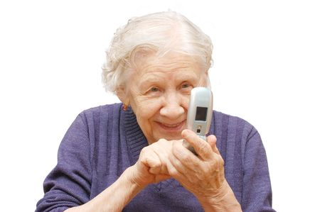 1 adult only: grandmother studies phone on an isolated background