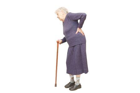 ancianos caminando: La abuela la celebraci�n de una ca�a en el fondo blanco