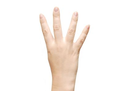numerate: women hand show the number four
