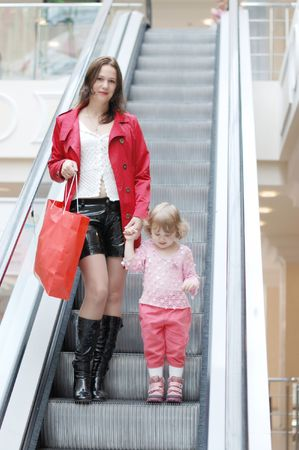 Mum and daughter on the escalator  photo