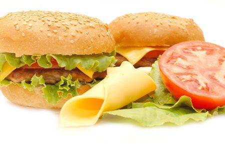 Two hamburgers  isolated on white background
