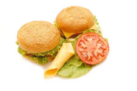 Two hamburgers  isolated on white background   photo