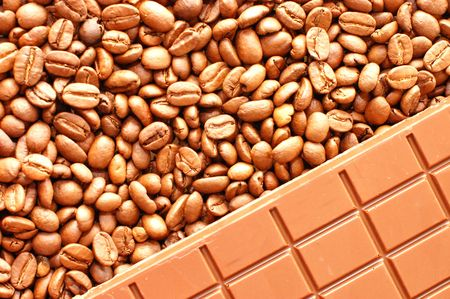 Background from coffee beans and chocolate Stock Photo - 5616587
