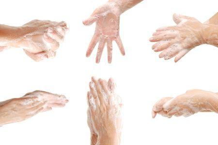 manos sucias: Juego de manos de la mujer en la espuma