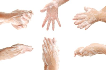 soaping: Set of female hands in foam Stock Photo