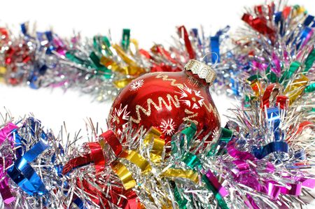 gewgaw: Christmas tinsel with a red toy