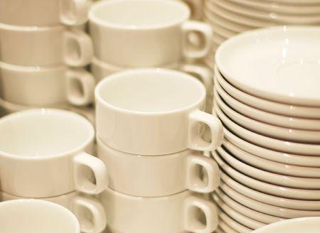 combined: Combinado tazas de caf� y platos Foto de archivo