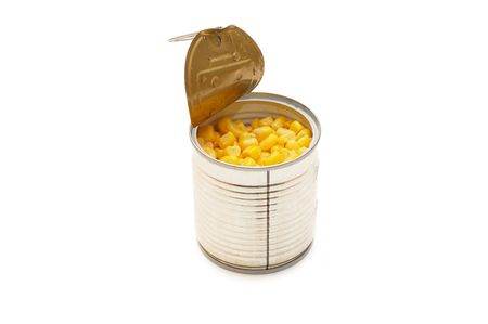tinned: Tinned corn in a tin isolated  Stock Photo