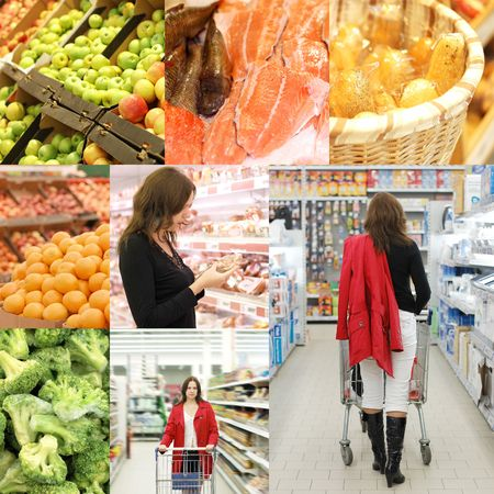 Collage from photos in a supermarket photo