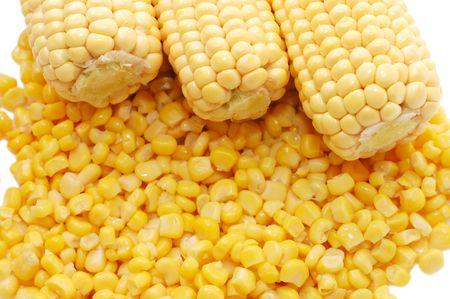 tinned: Ears of fresh corn and tinned corn