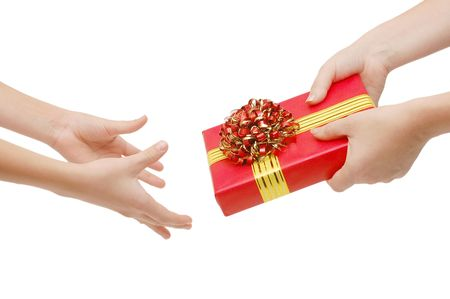 To hand a gift isolated on white Stock Photo - 5826077