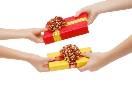 To hand a gift isolated on white Stock Photo - 5866778