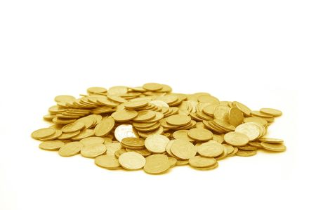 pile of money: Small group of the scattered coins Stock Photo