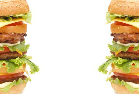 Double hamburger isolated on white background   photo