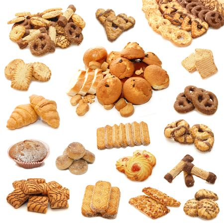Collage from cookies isolated on white background Stock Photo - 5896450