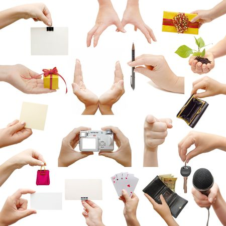 jewel hands: Female hands,collage, isolated on white background