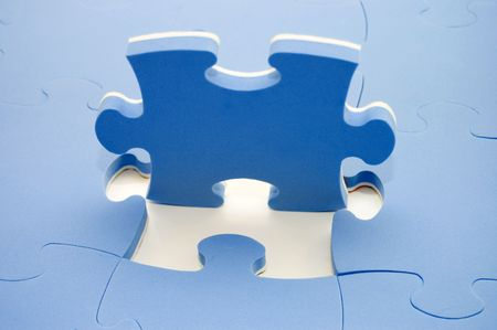 Dropped out part of a blue puzzle photo