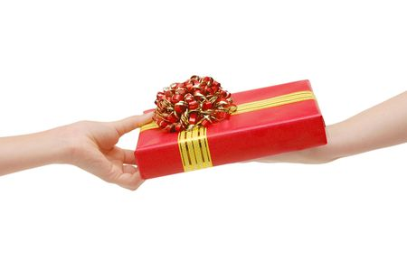 To hand a gift isolated on white photo