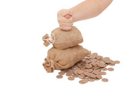fico: Hand with a fico on bags with money
