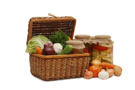 Fresh,tinned vegetables in a wattled box Stock Photo - 5960635