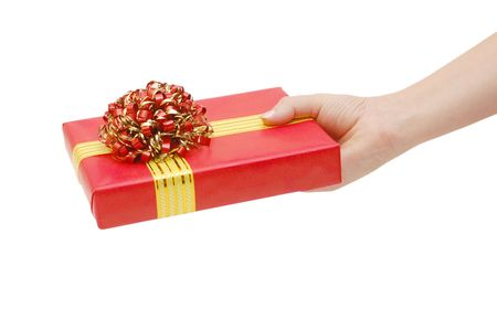 Box with a gift in a hand Stock Photo - 5960763